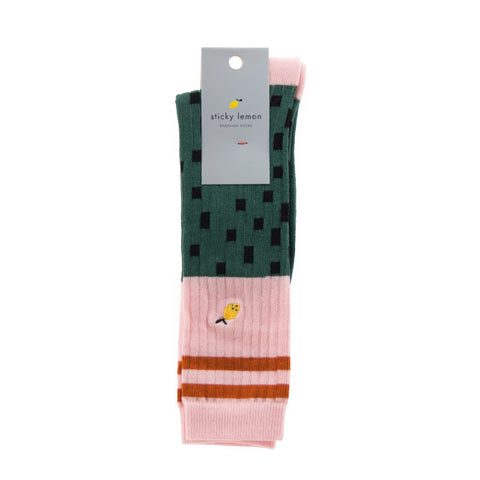 Sticky Lemon Knee High Socks - Hagelslag Bottle Green & Pink