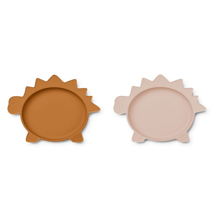 Liewood Olivia Silicone Plates - 2 Pack - Dino Rose/Mustard Mix