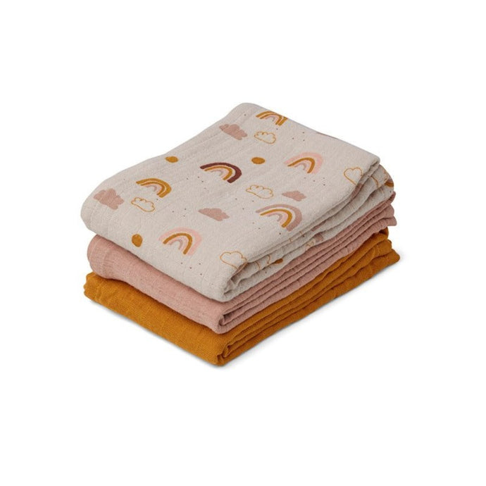 Liewood Line Muslin Cloth - 3 Pack - Rainbow Love Mix
