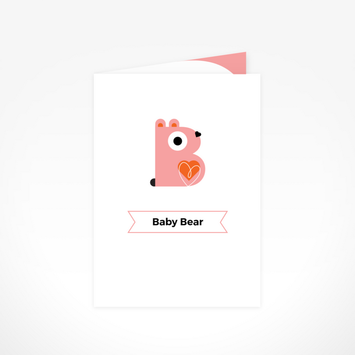 Baby Pink Bear Greeting Card By The Jam Tart