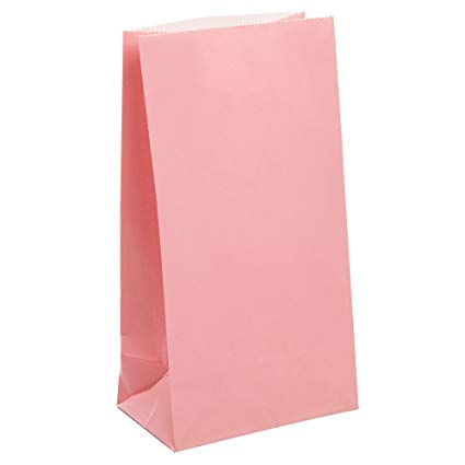 Pastel Pink Paper Party Bags - 12 Pack