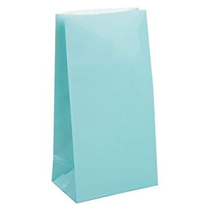Baby Blue Paper Party Bags - 12 Pack