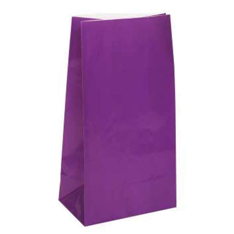 Deep Purple Paper Party Bags - 12 Pack