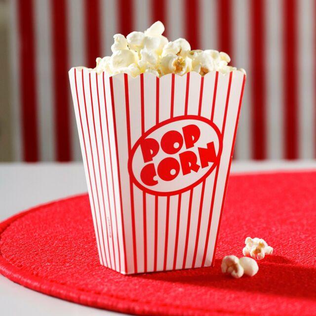 Small Retro Popcorn Card Boxes - 8 Pack