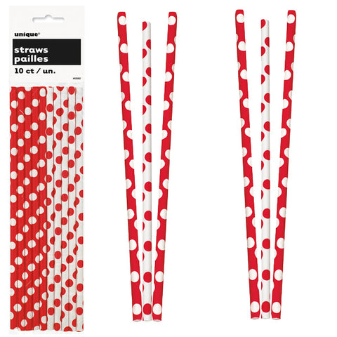 Paper Straws 10 Pack - Ruby Red Polka Dots