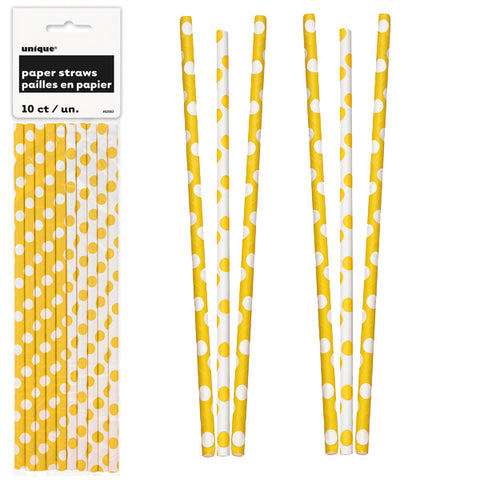 Paper Straws 10 Pack - Sunflower Yellow Polka Dots