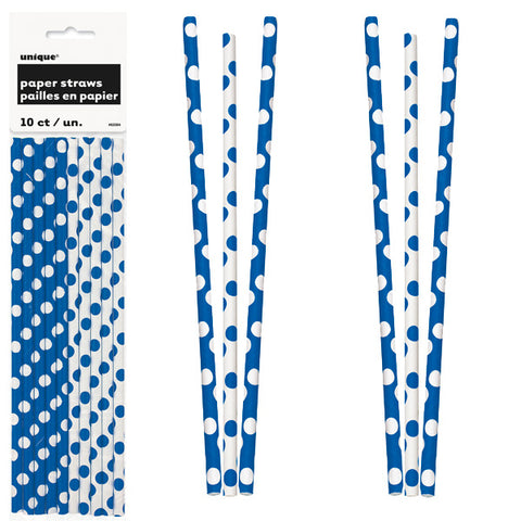 Paper Straws 10 Pack - Royal Blue Polka Dots