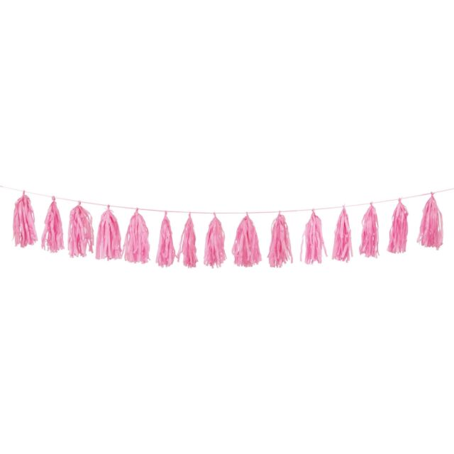 Hot Pink Tissue Tassel 9ft Garland