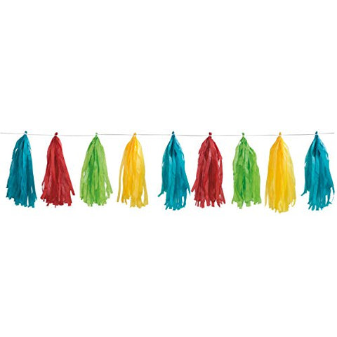 Rainbow Tissue Tassel 9ft Garland