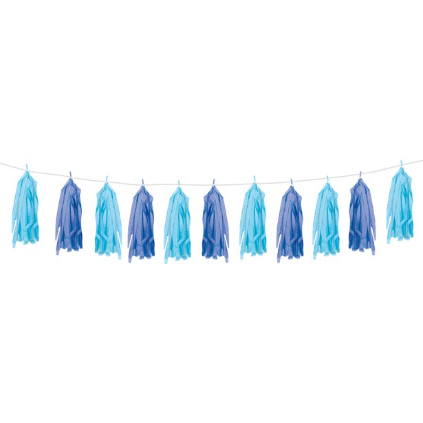 Royal & Light Blue Tissue Tassel 9ft Garland
