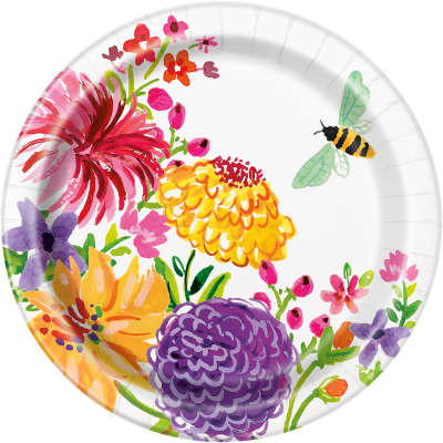 "Paper Plates 8 Pack - Painted Spring Floral 7"" Dessert Plates"