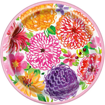 "Paper Plates 8 Pack - Painted Spring Floral 9"" Dinner Plates"