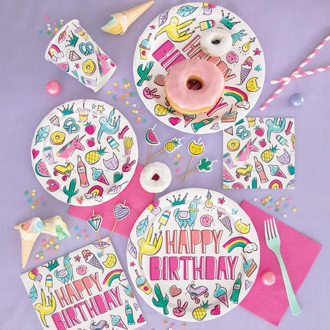 "Paper Plates 8 Pack - Favorite Things Birthday 7"" Dessert Plates"
