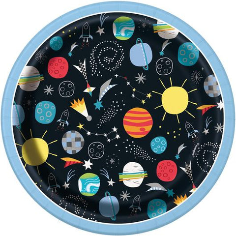 "Paper Plates 8 Pack - Outer Space 7"" Dessert Plates"