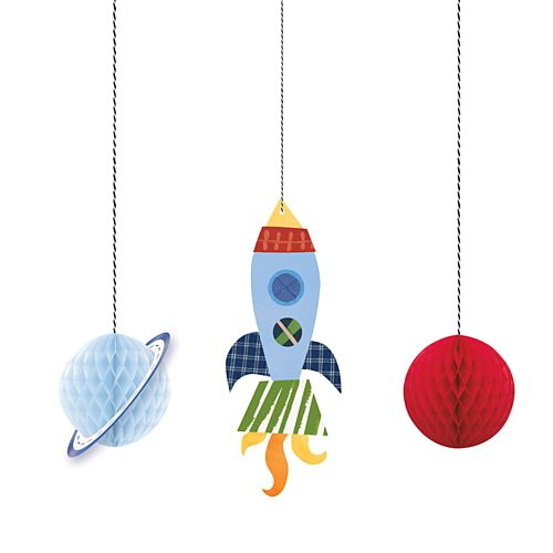 Hanging Honeycomb Decorations 3 Pack - Outer Space