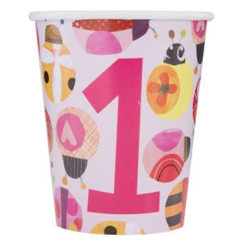 Paper Cups 8 Pack - Ladybug 1st Birthday