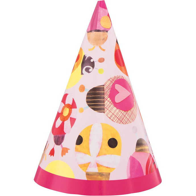 Paper Mini Party Hats 8 Pack - Ladybug 1st Birthday