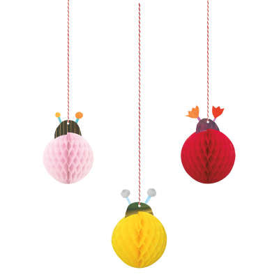 Hanging Honeycomb Decorations 3 Pack - Ladybug 1st Birthday