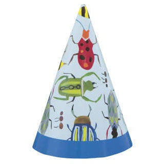 Paper Mini Party Hats 8 Pack - Bug 1st Birthday