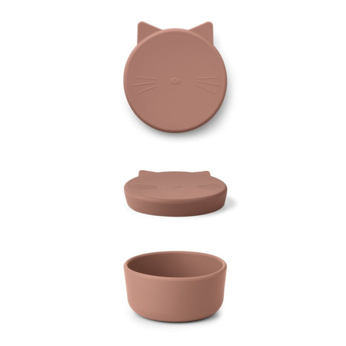 Liewood Cornelius Silicone Snack Box - Cat Dark Rose