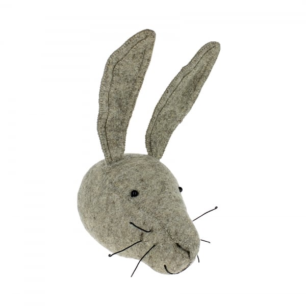 Fiona Walker Grey Hare Felt Animal Wall Head - Large
