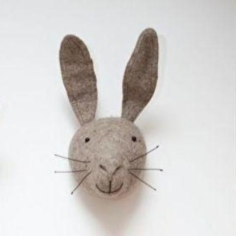 Fiona Walker Grey Hare Felt Animal Wall Head - Large | Soren's House