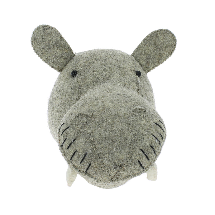 Fiona Walker Hippo Felt Animal Wall Head - Mini