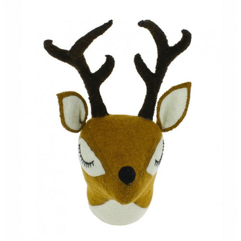 Fiona Walker Sleepy Reindeer Felt Animal Wall Head - Mini