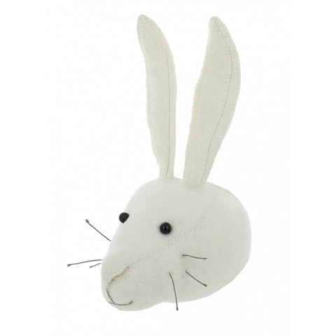 Fiona Walker White Rabbit Felt Animal Wall Head - Mini