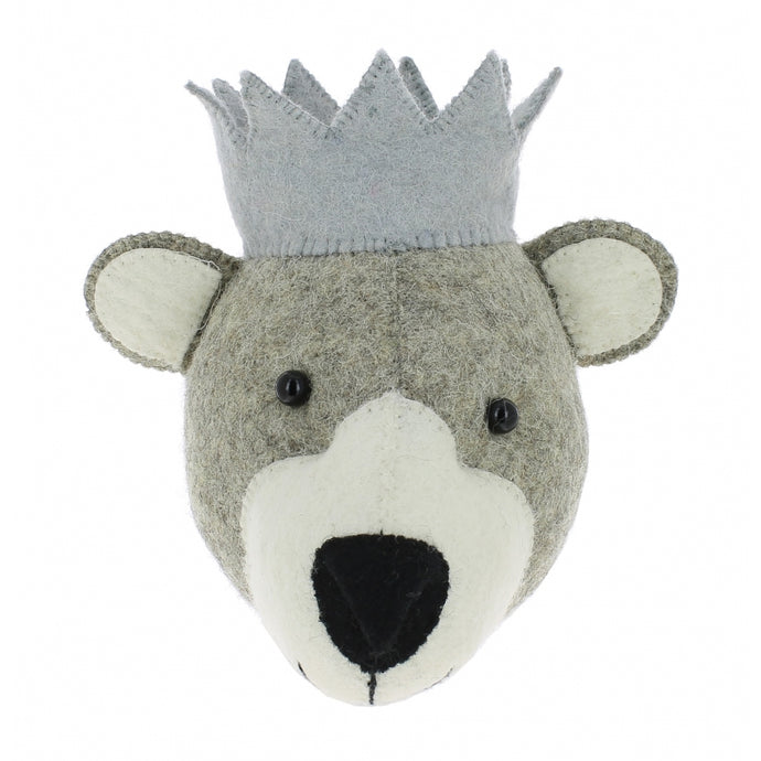 Fiona Walker Bear With Crown Felt Animal Wall Head - Mini