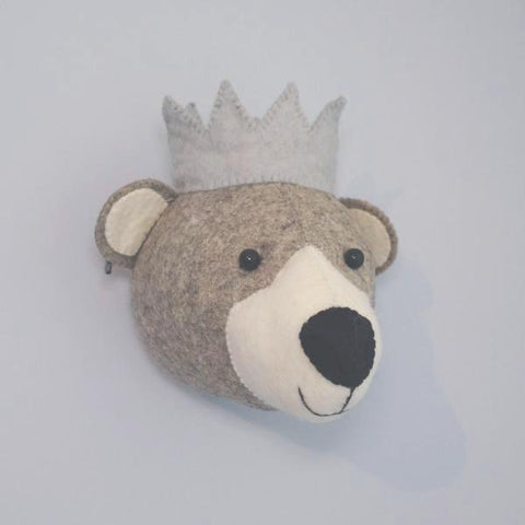 Fiona Walker Bear With Crown Felt Animal Wall Head