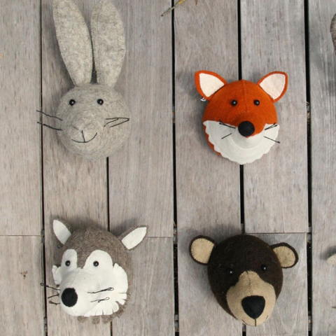 Fiona Walker Wolf Felt Animal Wall Head - Mini