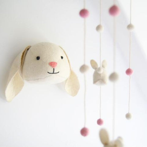 Fiona Walker Floppy Ear Bunny Felt Animal Wall Head