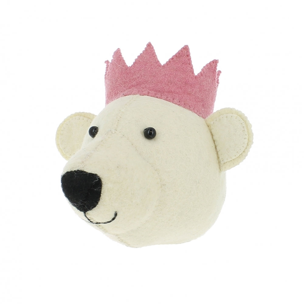 Fiona Walker Baby Bear With Pink Crown Felt Animal Wall Head - Mini