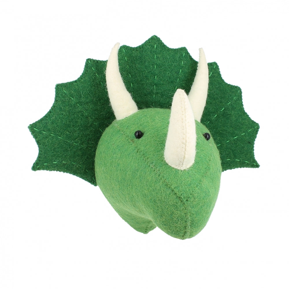 Fiona Walker Triceratops Dinosaur Felt Animal Wall Head - Mini