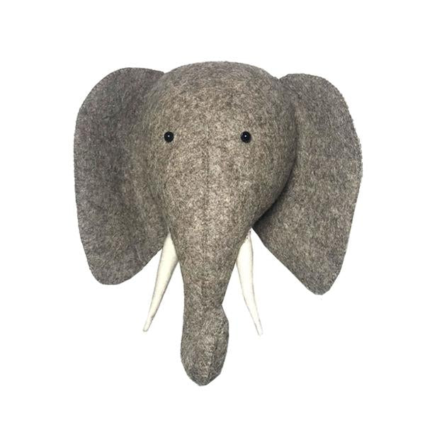 Fiona Walker Elephant With Trunk Up Felt Animal Wall Head