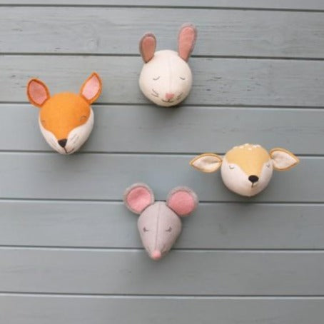 Fiona Walker Sleepy Deer Felt Animal Wall Head - Mini