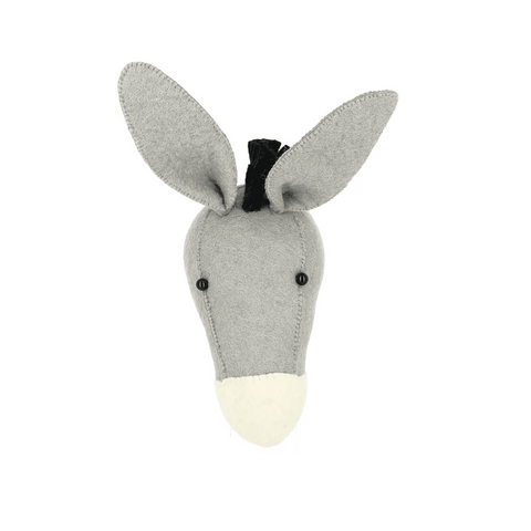 Fiona Walker Donkey Felt Animal Wall Head - Mini