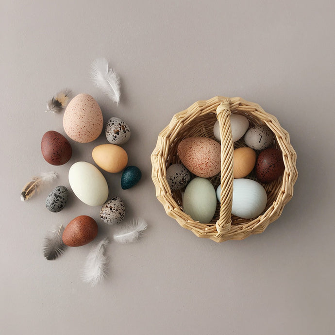 A Dozen Bird Eggs In Basket by Moon Picnic