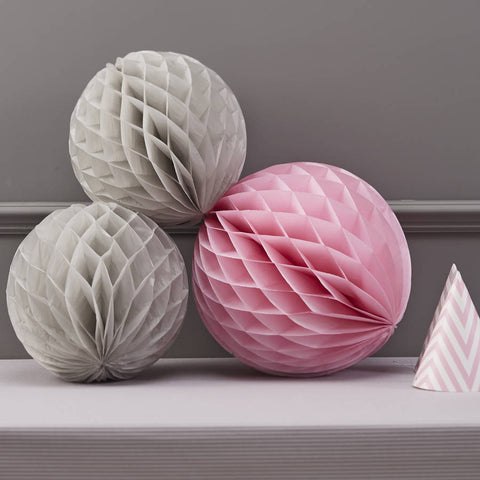 Chevron Honeycomb Ball Decorations - Grey & Pink By Ginger Ray