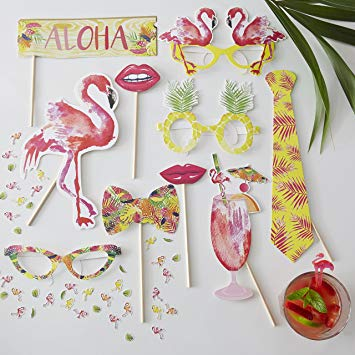 Tropical Party Photo Props Pack - Flamingo Fun By Ginger Ray