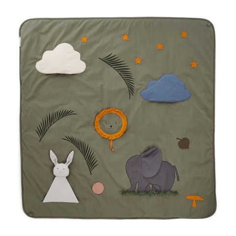 Liewood Organic Maude Baby Activity Blanket & Play Mat - Faune Green