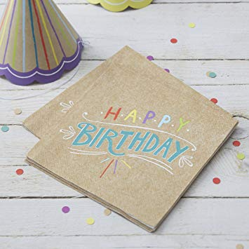 Paper Napkins 20 Pack - 'Happy Birthday' Kraft By Ginger Ray