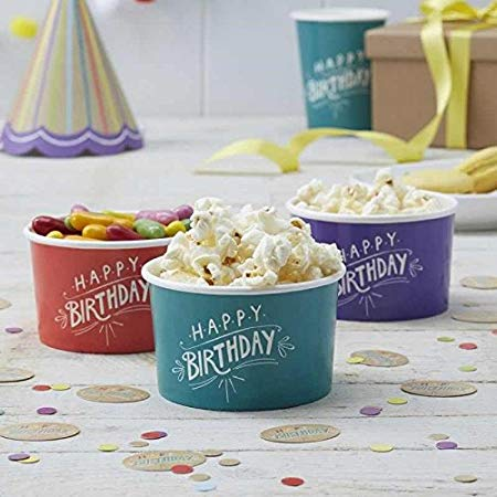 Paper Ice Cream Tubs 8 Pack - 'Happy Birthday' Kraft By Ginger Ray