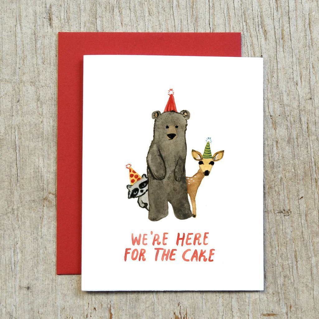 Here For Cake Greeting Card by Little Truths Studio