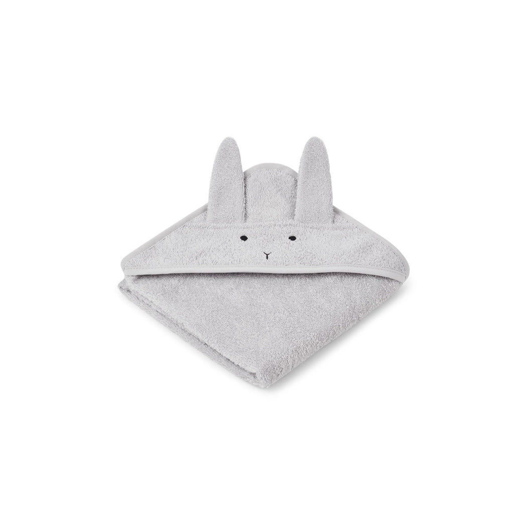 Liewood Organic Albert Hooded Baby Towel - Rabbit Dumbo Grey