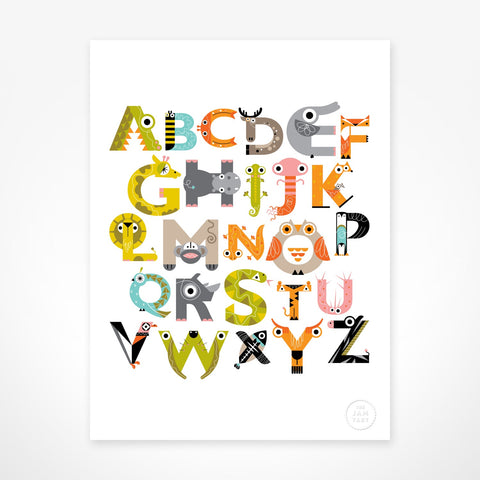 Animal Alphabet Print By The Jam Tart