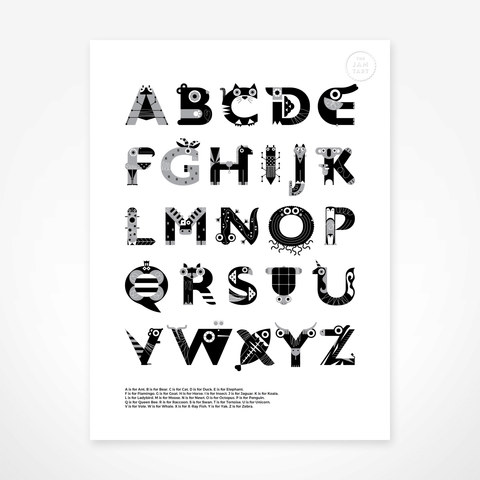 Animal Alphabet Print - Black & White By The Jam Tart