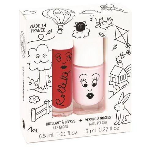 Nailmatic Natural Lip Gloss & Varnish Duo - Kid's Cottage (Cherry/Powder Pink)