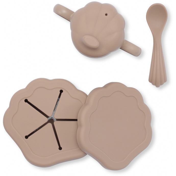 Konges Slojd Silicone Clam Tableware Set - Blush